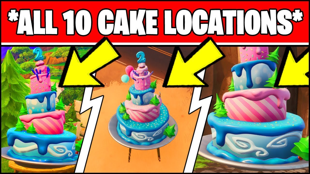All Different Birthday Cakes Fortnite Fortnite Birthday Cake Locations All 10 Locations Dance In Front Of Different Birthday Cakes Youtube