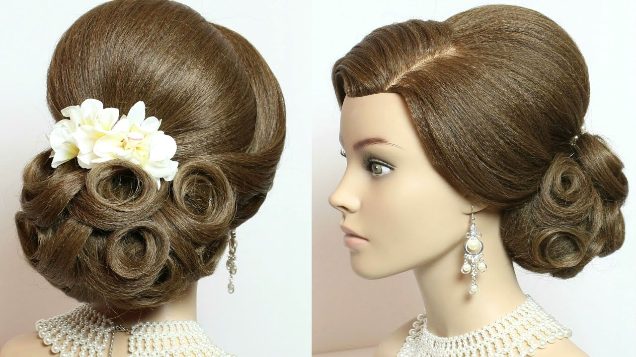 Bridal hairstyle. Wedding updo for long hair tutorial - YouTube