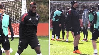 Paul Pogba & Zlatan Ibrahimovic Train With Manchester United Squad Ahead Of Sevilla Tie