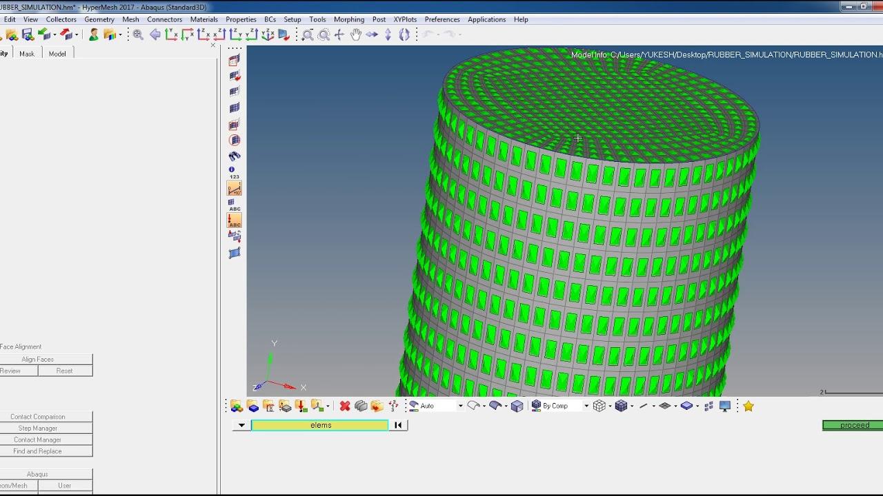 Abaqus tutorial 3D Rubber with hyperelastic properties (USING HYPERMESH)  PART_1