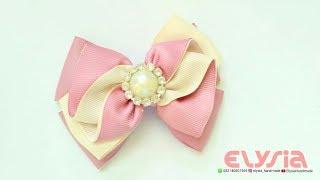 How To Make : Ruffle Ribbon Bow With Grosgrain Ribbon | DIY by Elysia Handmade