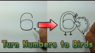 Very Easy ! How to turn Numbers 6-9 into the cartoon birds  step by step - art game on paper for kid