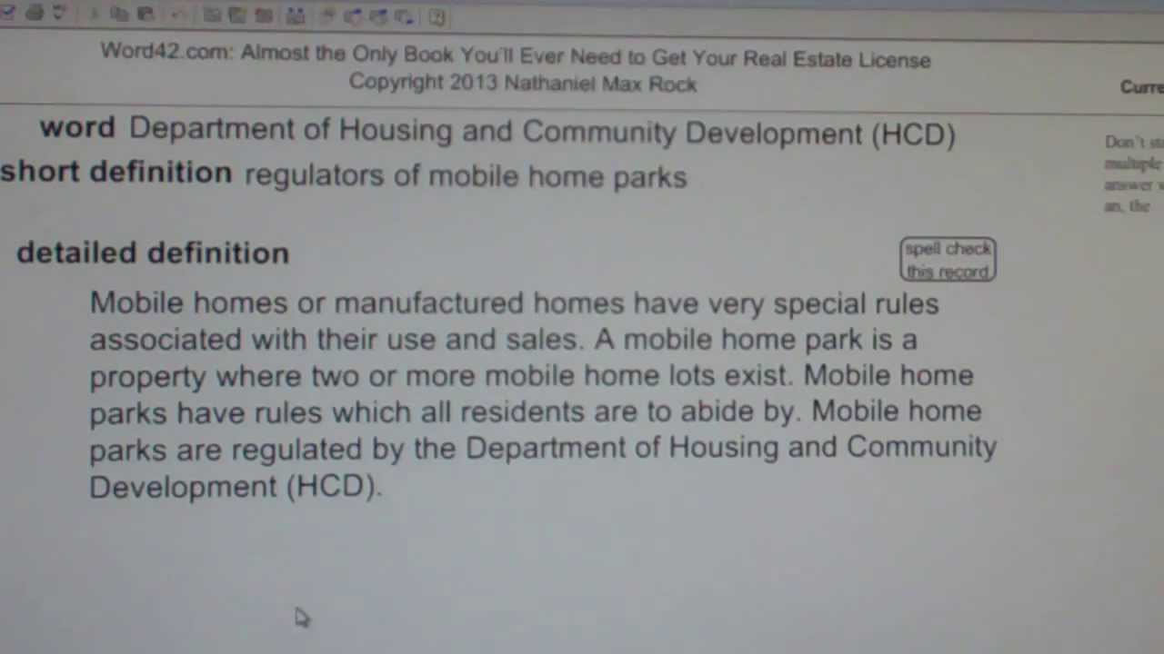 Department Of Housing And Community Development HCD CA Real Estate License Exam VocabUBee