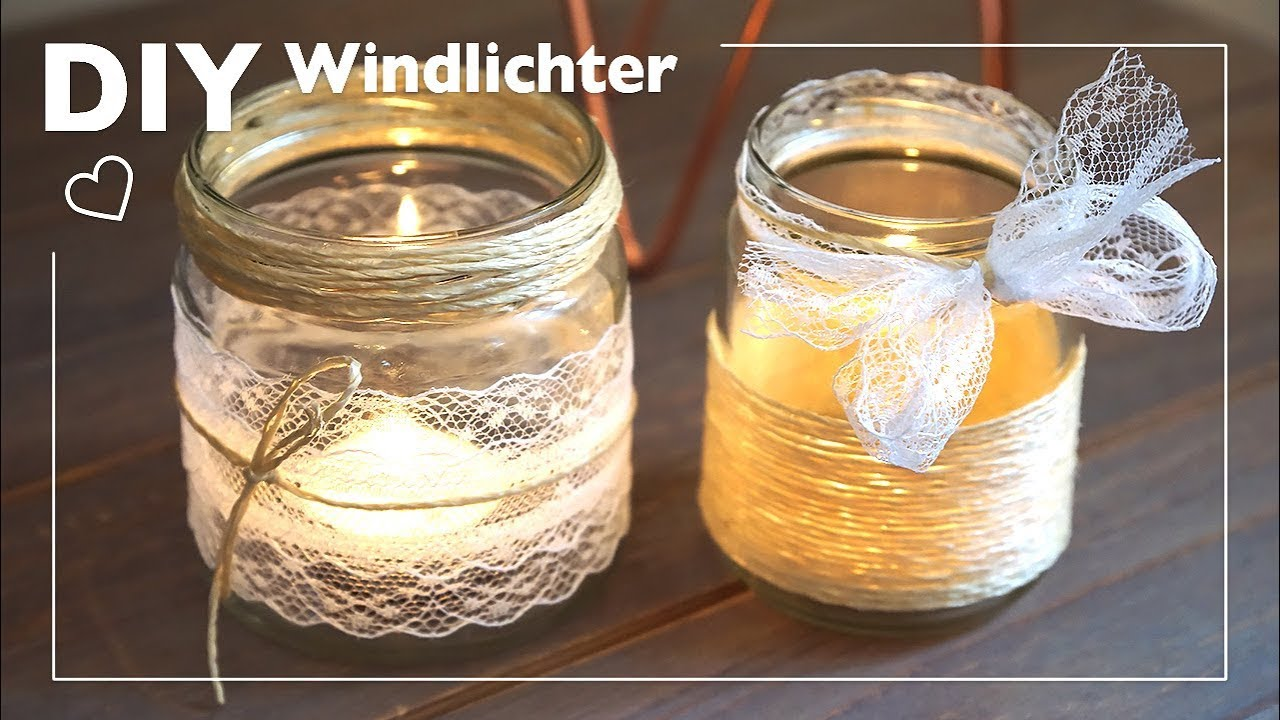 diy windlichter mit jute und spitze basteln youtube. Black Bedroom Furniture Sets. Home Design Ideas