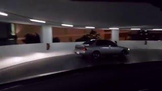 Toyota Corolla AE100 drift in parking garage in Thailand