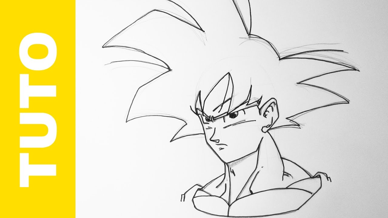 Comment dessiner goku facilement dragon ball z tutoriel youtube - Dessin dragon ball z facile ...