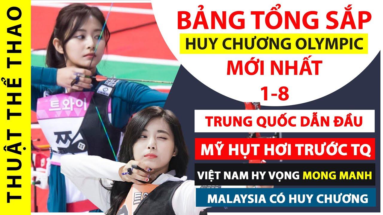 Bảng tổng sắp huy chương Olympic Tokyo 2020 ngày 1-8 | Trung Quốc bỏ xa Mỹ | Buồn cho Việt Nam