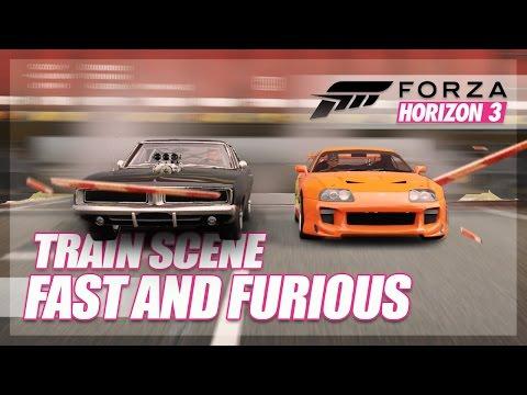 Get Forza Horizon 3 - Brian vs Dom Train Scene Recreation! (Build & Stunt Attempt) Images