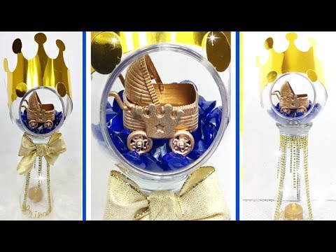 Royal Prince Baby Shower Idea Part 2 / Blue And Gold Baby Boy Bling Vase