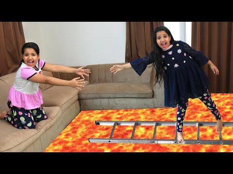 شفا تنقذ توأمتها من الحمم البركانية !! the floor is lava
