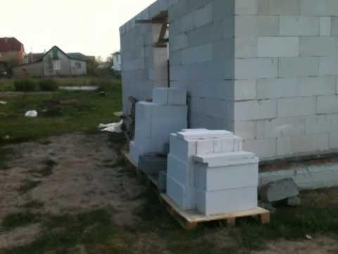 Моя стройка,домик 6х6 из газобетона.