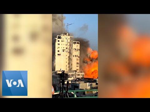 Israeli Airstrike Hits Tower in Gaza City