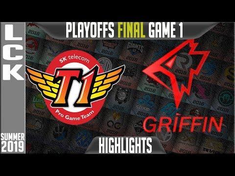 SKT vs GRF Highlights Game 1   LCK Summer 2019 Playoffs Grand-Finals   SK Telecom T1 vs Griffin