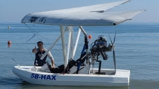 Amphibious Ultralight Takeoff, Low Flying over Limassol and Water Landing - A Flying Boat!