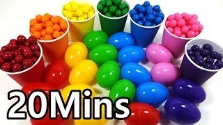 20Mins Learn Colors With Rainbow Color Cup Surprise Toys and Play Doh and Bubble Gum for kids
