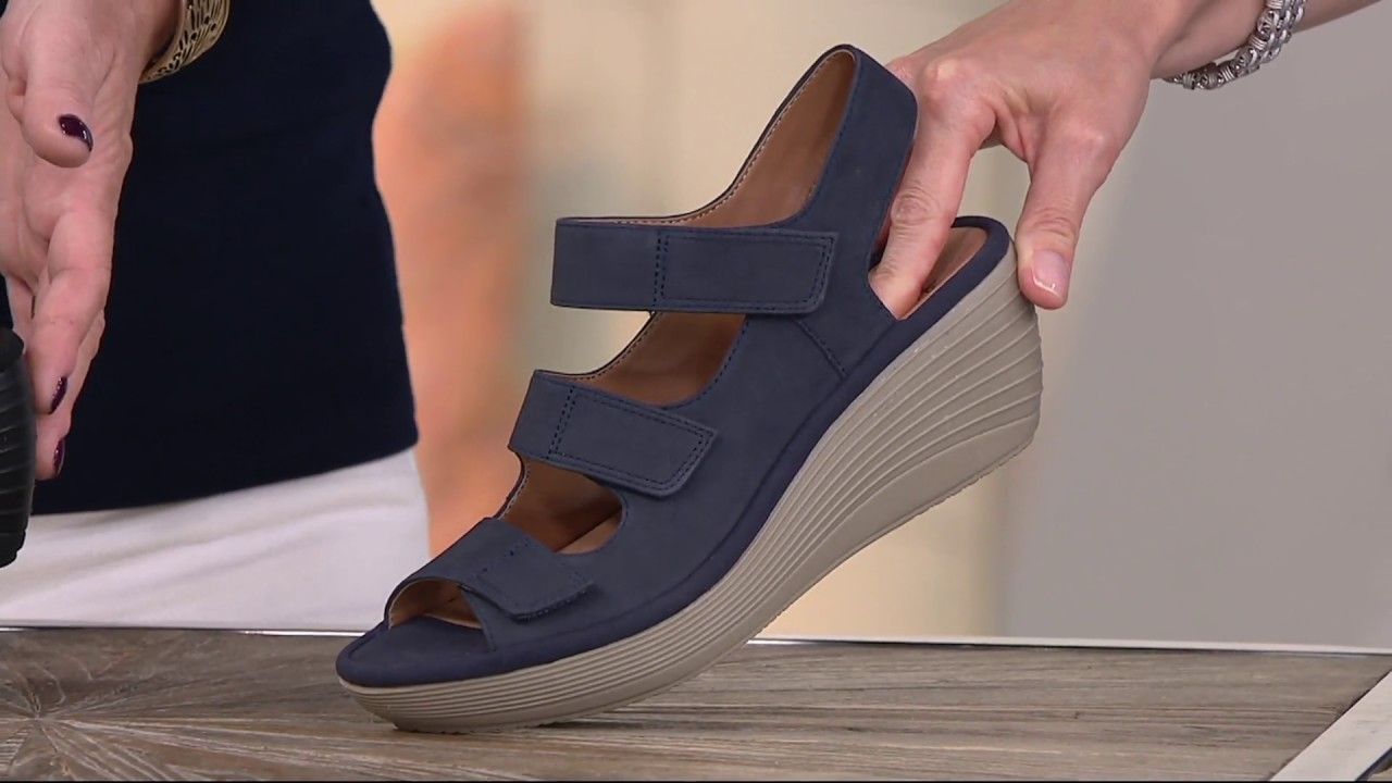 fe5c5010806 Clarks Nubuck Triple Strap Wedge Sandals - Reedly Juno on QVC - YouTube