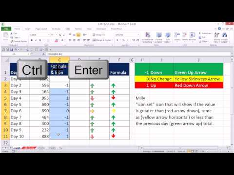 Excel Magic Trick 1204: Conditional Formatting For Day's Change: Up & Down Icon Arrows