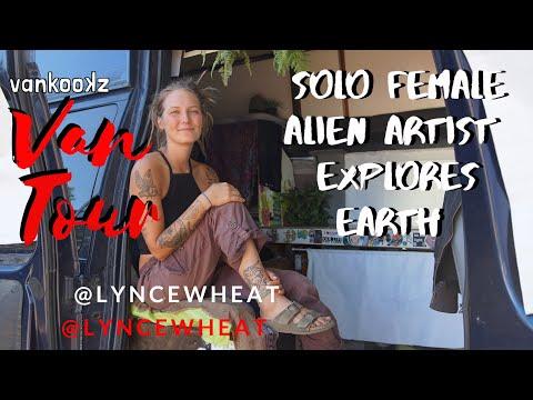 Solo female alien artist travels earth painting one van one a time | Ford E350 DIY Van | Van Tour