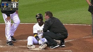 NYM@PIT: McCutchen shakes off hit-by-pitch in the 8th