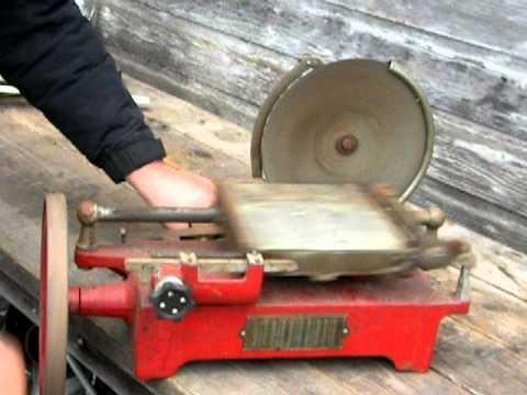 antique hand crank Van Berkel model B meat slicer