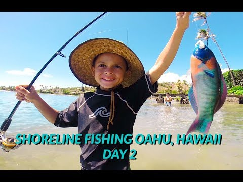 SHORELINE FISHING On OAHU, HAWAII-catching A VARIETY Of FISH Day#2