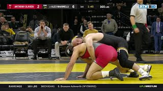 165 LBS: #3 Alex Marinelli (Iowa) vs. Anthony Oliveri (Rutgers) | Big Ten Wrestling