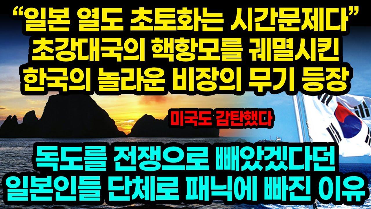"""""""일본 열도 초토화는 시간문제다"""" 초강대국의 핵항모를 궤멸시킨 한국의 놀라운 비장의 무기 등장 / 독도를 전쟁으로 빼았겠다던 일본인들 단체로 패닉에 빠진 이유[잡식왕]"""