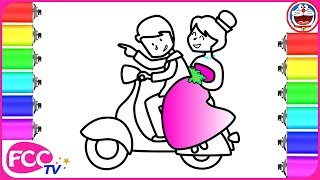 How to Draw Groom and Bride on Vespa | Happy Wedding Coloring Page for Kid Drawing & Coloring