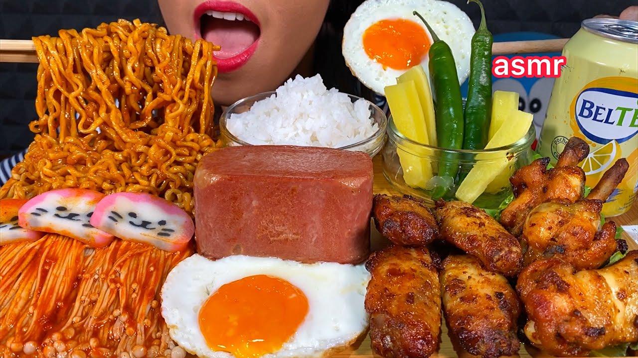 ASMR EATING FIRE NOODLES HOT WINGS ENOKI MUSHROOMS SPAM EGG CHILI RICE & LEMON TEA 먹방 Sounds