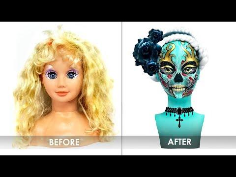 Doll Repaint BARBIE STYLE HEAD MAKEOVER | Sugar Skull Doll | Custom OOAK Repaint