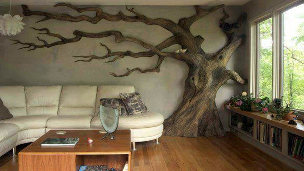 Living Room Tree Pop Designs For Walls Wall In Rooms ᴴᴰ Youtube