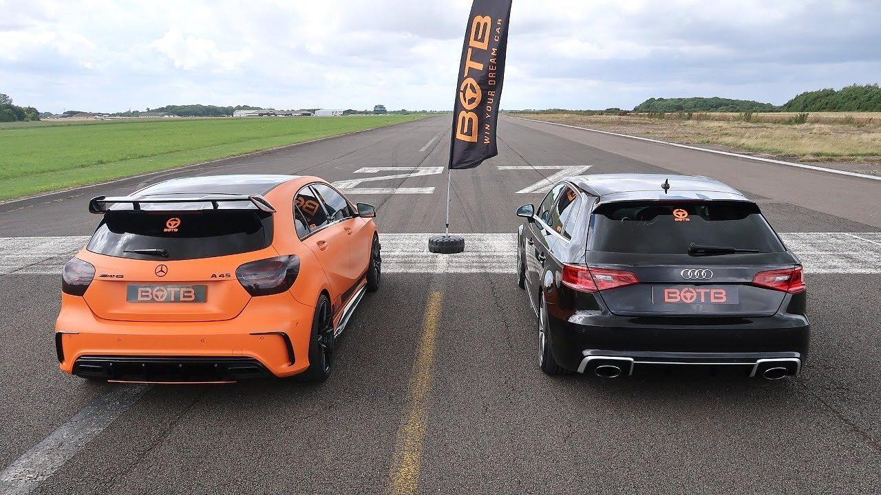 Drag Race Audi Rs3 Vs Mercedes A45 Amg Youtube