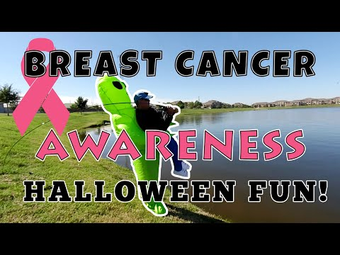 Fishing In Halloween Costume And Raising Awareness For Breast Cancer