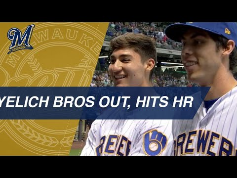 Christian Yelich's brother, Cameron, joins him at the game, then Yelich hits a homer