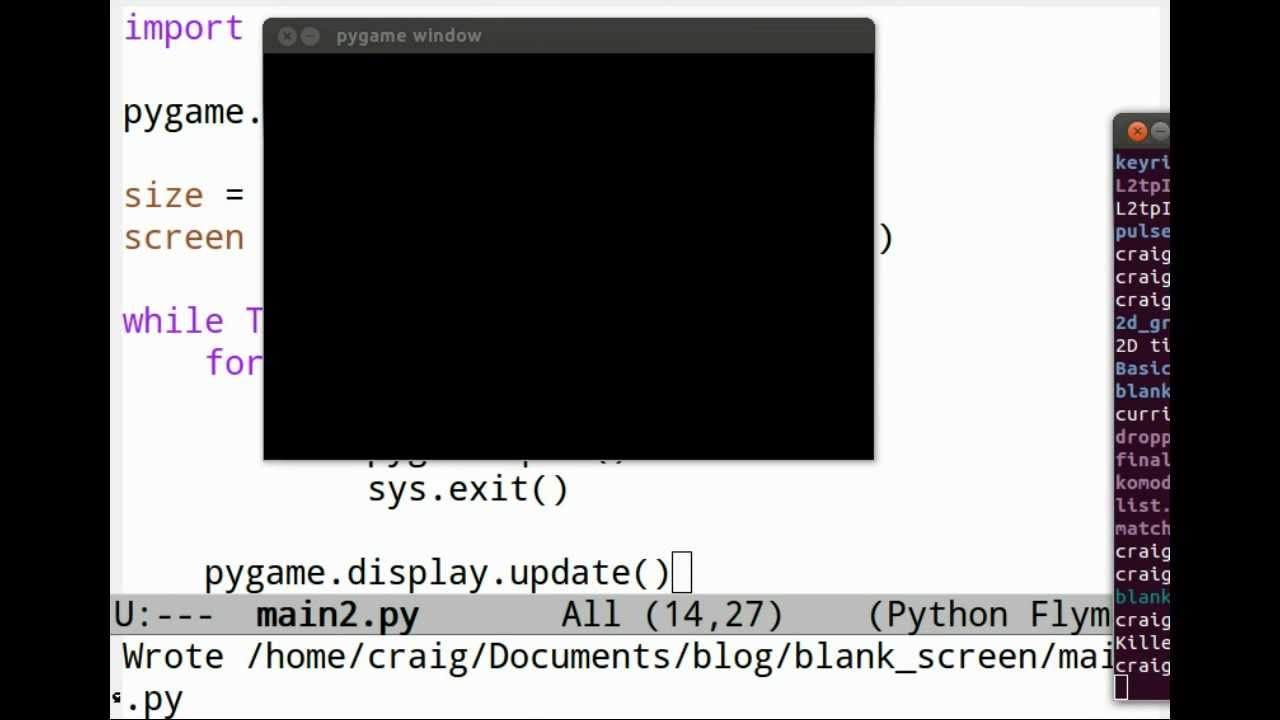 Lesson #1 - Python and Pygame - The Blank Screen - Craig Oda