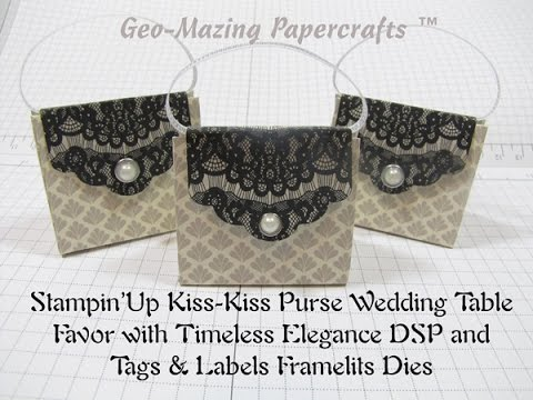 stampin up kiss kiss purse wedding table favor with tags labels