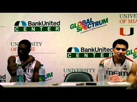 Miami players Malcolm Grant and Shane Larkin address the media after game against FGCU
