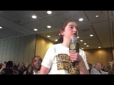 Marlo Mosley NFL Play60 Super Kid Asks NFL Commissioner A Question #SB50