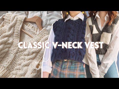 Knit a Classic V-Neck Vest // Step-by-Step DIY, Knitting Pattern