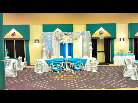 Faos events decoracion azul turquesa y plata youtube for Decoracion de pared para quinceanera