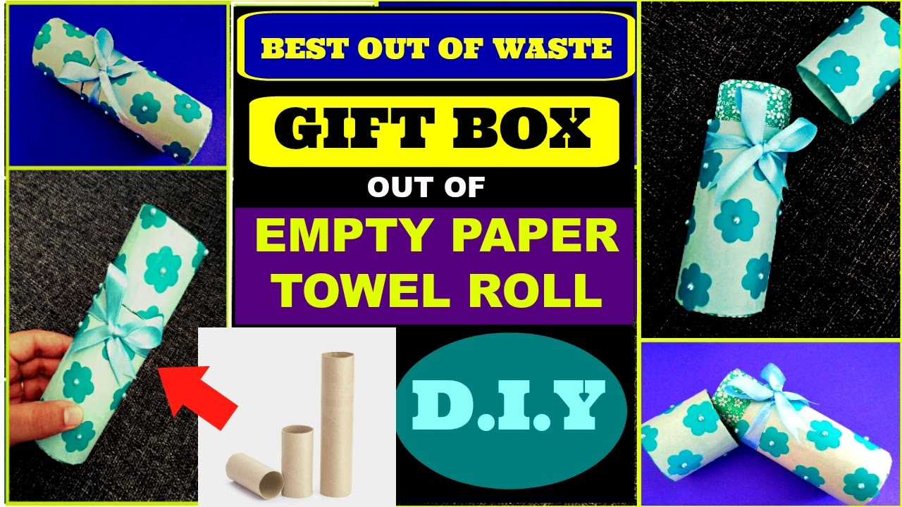 Diy Gift Box Out Of Empty Paper Towel Rolls Best Out Of Waste