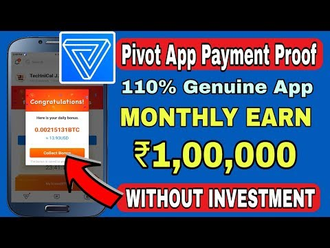Pivot App $24 Payment Proof, How to Withdraw BTC in pivot app, How to create Blockchain Account !!