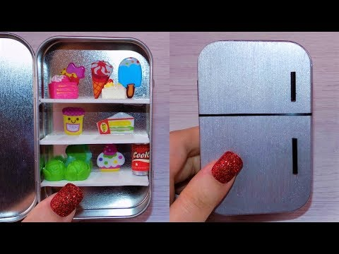 DIY Miniature Fridge - How to Make LPS Crafts Stuff Barbie Doll Accessories Dollhouse Things