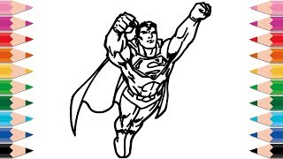 How to Draw Superman Coloring Pages for Kids Superheroes Learn Colors for Children