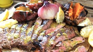 The Best Grilled Flank Steak Recipe - With Gaucho Sweet Potatoes And Rustic, Charred Caesar Salad