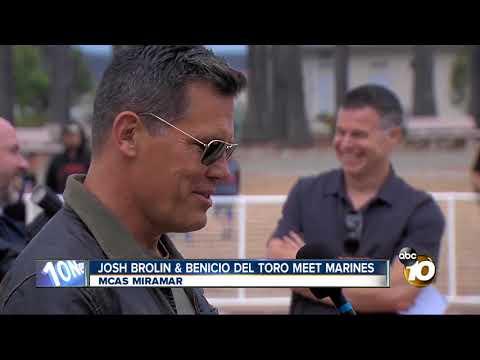 Josh Brolin and Benicio Del Toro meet Marines at MCAS Miramar