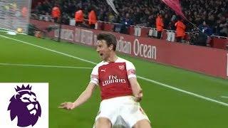 Laurent Koscielny scores off his shoulder for Arsenal against Chelsea | Premier League | NBC Sports