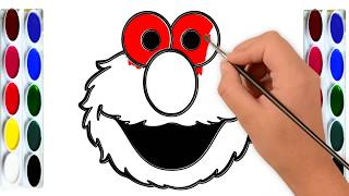 How to Draw Elmo Face Easy | Simple Drawing and Coloring for Kids