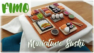 FIMO SUSHI Tutorial | kotatsu table | miniature polymerclay how to | DEUTSCH