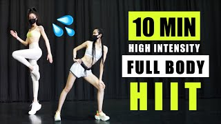 10 MIN HIIT WORKOUT | Full Body Cardio, Burn Fat & Calories at Home (No Equipment) | ETFashion超模全身燃脂